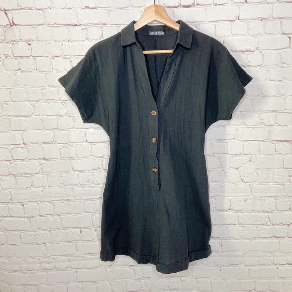 Shein Black Collared Short Sleeve Romper Small 4